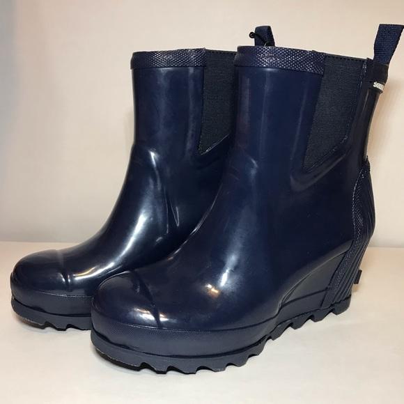 b30e87aec78 New Sorel Joan Rain Wedge Chelsea Gloss Navy NWT